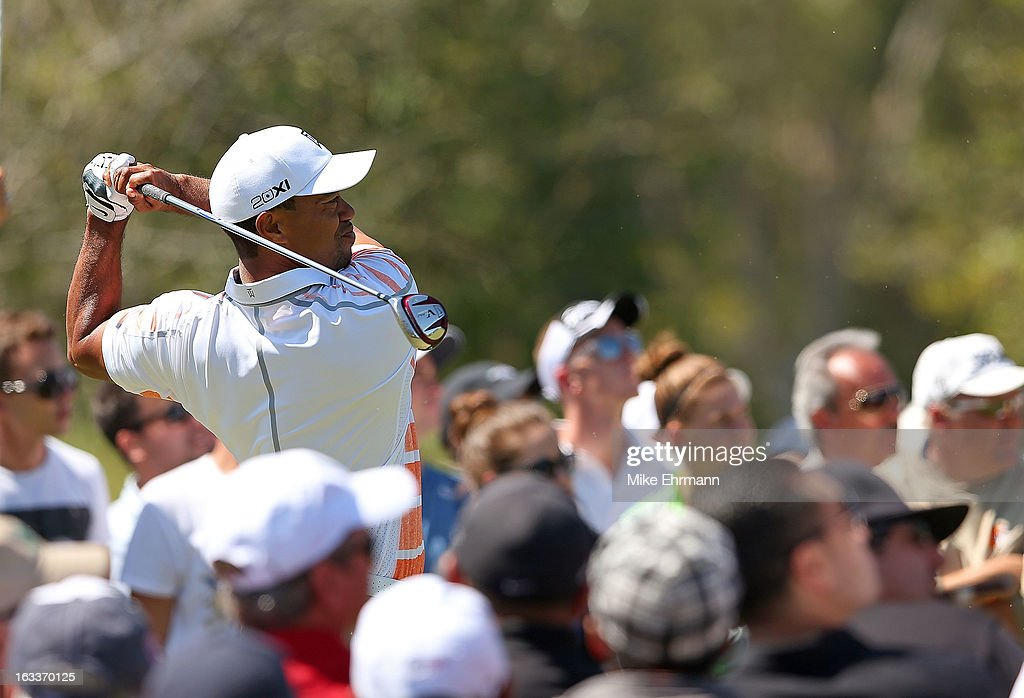 Tiger Woods hits his tee shot on the fourth hole during the second round of the WGC-Cadillac Championship at the Trump Doral Golf Resort & Spa in on March 8, 2013 in Doral, Florida.