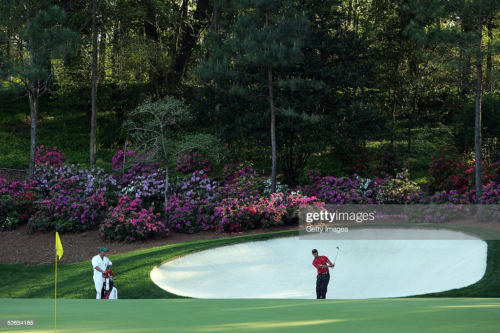 <a gi-track='captionPersonalityLinkClicked' href=/galleries/search?phrase=Tiger+Woods&family=editorial&specificpeople=157537 ng-click='$event.stopPropagation()'>Tiger Woods</a> hits his third shot on the 13th hole during the final round of the 2005 Masters on April 10, 2005 at Augusta National Golf Course in Augusta, Georgia.
