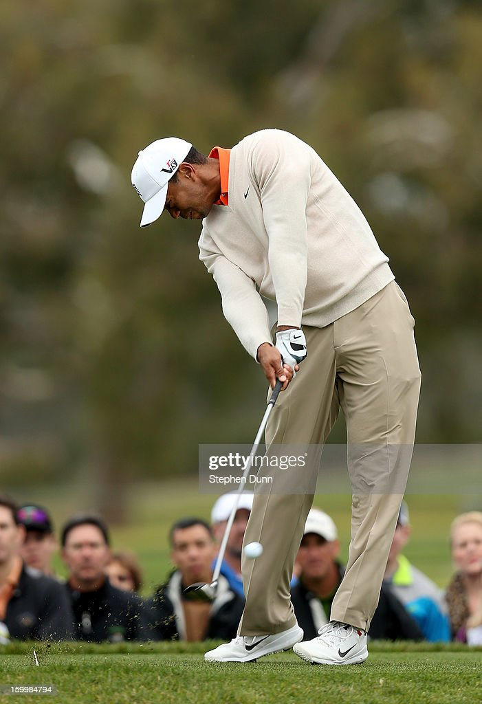 Tiger Woods hits is tee shot on the second hole during the first round of the Farmers Insurance Open on the South Course at Torrey Pines Golf Course on January 24, 2013 in La Jolla, California.