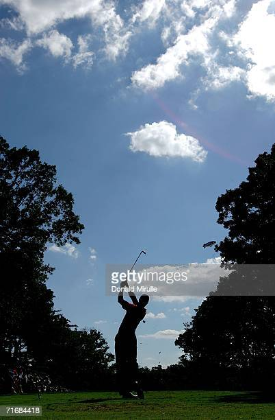 Tiger Woods hits off of the eighth tee box during the final round of the 2006 PGA Championship at Medinah Country Club on August 20 2006 in Medinah...