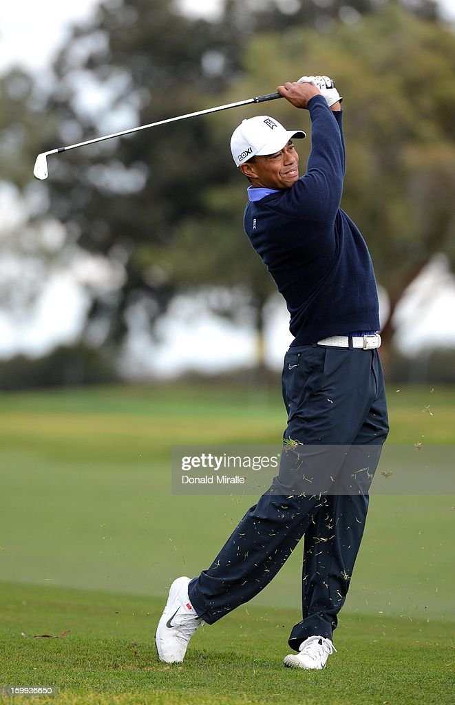 Tiger Woods hits off the fairway during the Pro-Am at the Farmers Insurance Open at Torrey Pines North Golf Course on January 23, 2013 in La Jolla, California.