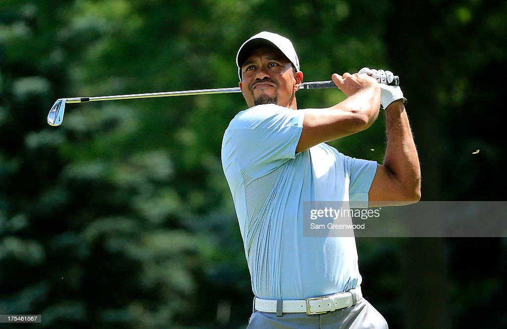 Tiger Woods hits off the sixth tee during the Third Round of the World Golf Championships-Bridgestone Invitational at Firestone Country Club South Course on August 3, 2013 in Akron, Ohio.