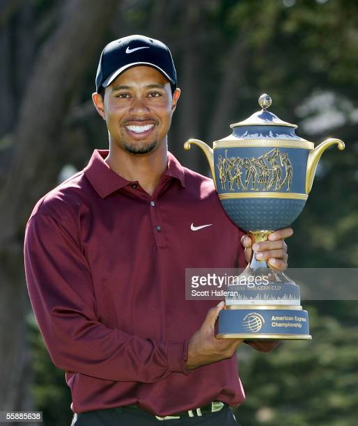 Tiger Woods holds the Gene Sarazen Trophy after winning the WGC American Express Championship on October 9 2005 at Harding Park Golf Course in San...