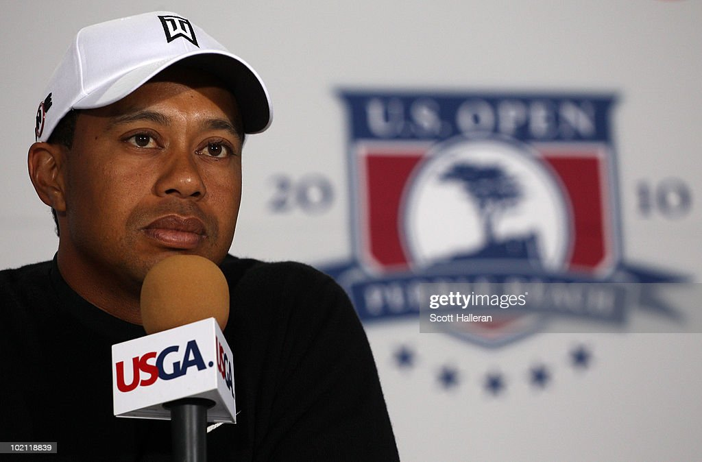 Tiger Woods is interviewed by the media during a press conference after a practice round prior to the start of the 110th U.S. Open at Pebble Beach Golf Links on June 15, 2010 in Pebble Beach, California.