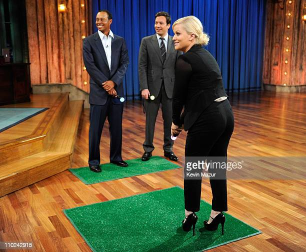 Tiger Woods Jimmy Fallon and Amy Poehler appear on 'Late Night with Jimmy Fallon' at Rockefeller Center on March 16 2011 in New York City
