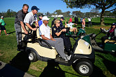 Tiger Woods leaves the course after withdrawing from the Farmers Insurance Open due to injury at Torrey Pines Golf Course on February 5 2015 in La...
