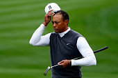 Tiger Woods looks on from the 9th green during the second round of the Waste Management Phoenix Open at TPC Scottsdale on January 30 2015 in...