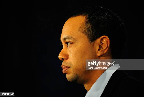 Tiger Woods makes a statement from the Sunset Room on the second floor of the TPC Sawgrass home of the PGA Tour on February 19 2010 in Ponte Vedra...