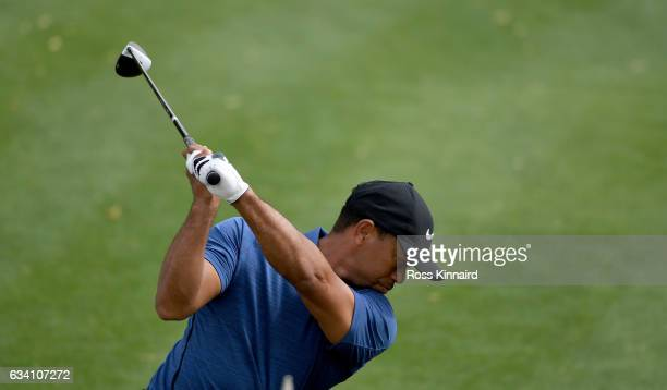 Tiger Woods o f the USA on the 1st tee during the first round of the Omega Dubai Desert Classic at Emirates Golf Club on February 2 2017 in Dubai...
