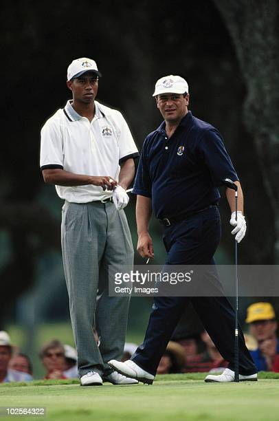 Tiger Woods of Team United States and Costantino Rocca of Team Europe during the 32nd Ryder Cup Matches on 27 September 1997 at the Valderrama Golf...