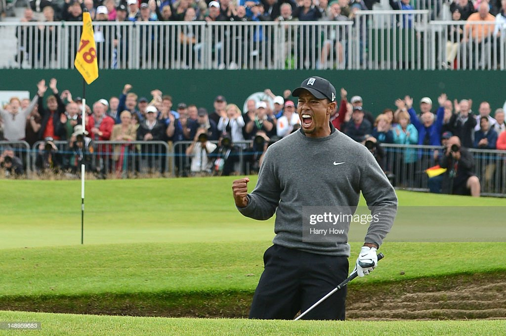 <a gi-track='captionPersonalityLinkClicked' href=/galleries/search?phrase=Tiger+Woods&family=editorial&specificpeople=157537 ng-click='$event.stopPropagation()'>Tiger Woods</a> of the United States celebrates after holing out from a bunker for birdie on the 18th hole during the second round of the 141st Open Championship at Royal Lytham & St Annes Golf Club on July 20, 2012 in Lytham St Annes, England.