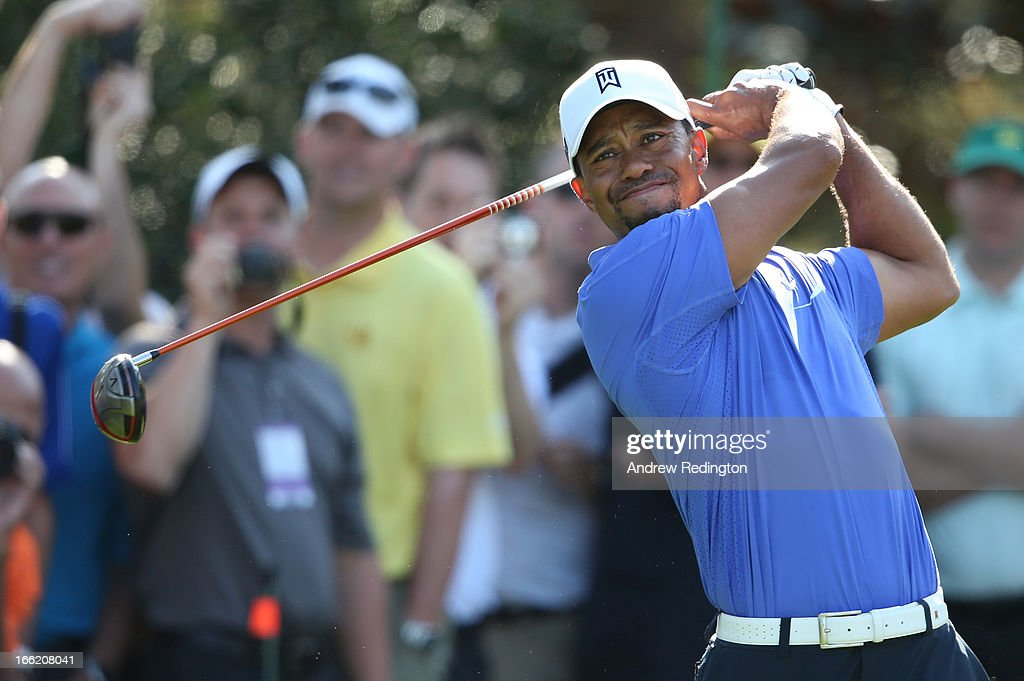 <a gi-track='captionPersonalityLinkClicked' href=/galleries/search?phrase=Tiger+Woods&family=editorial&specificpeople=157537 ng-click='$event.stopPropagation()'>Tiger Woods</a> of the United States hits a shot during a practice round prior to the start of the 2013 Masters Tournament at Augusta National Golf Club on April 10, 2013 in Augusta, Georgia.
