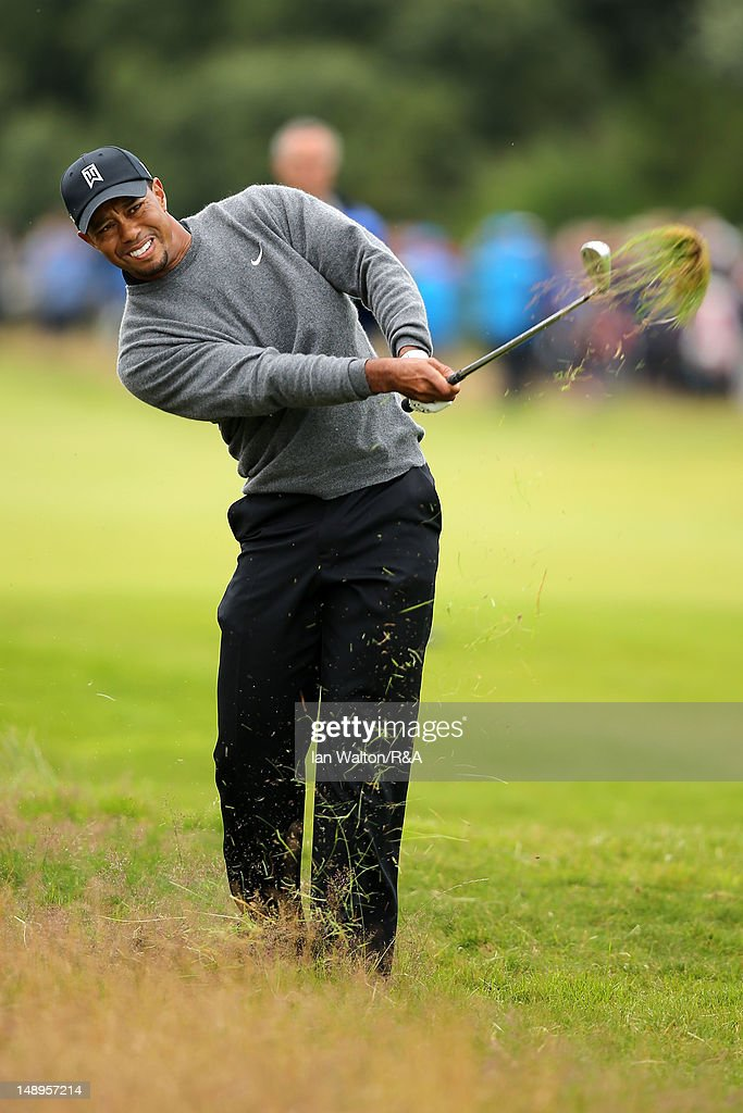 <a gi-track='captionPersonalityLinkClicked' href=/galleries/search?phrase=Tiger+Woods&family=editorial&specificpeople=157537 ng-click='$event.stopPropagation()'>Tiger Woods</a> of the United States hits from the rough on the 7th hole during the second round of the 141st Open Championship at Royal Lytham & St Annes Golf Club on July 20, 2012 in Lytham St Annes, England.
