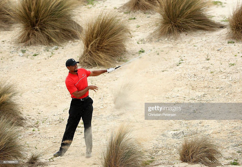 Tiger Woods of the United States hits his second shot on the third hole during the final round of the Hero World Challenge at Albany, The Bahamas on December 4, 2016 in Nassau, Bahamas.