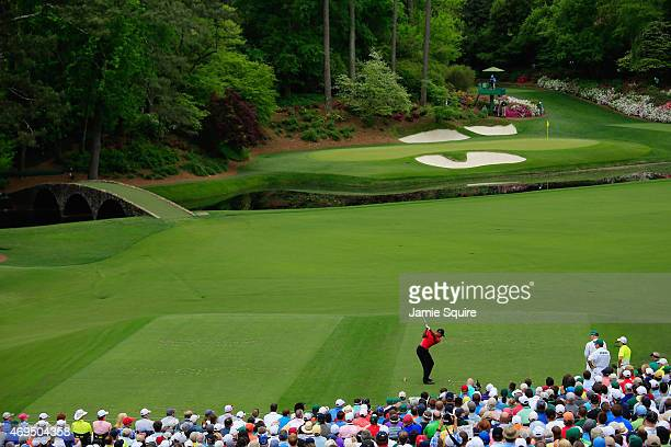 Tiger Woods of the United States hits his tee shot on the 12th hole during the final round of the 2015 Masters Tournament at Augusta National Golf...