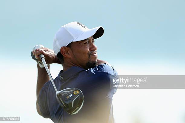 Tiger Woods of the United States hits his tee shot on the 13th hole during round two of the Hero World Challenge at Albany The Bahamas on December 2...