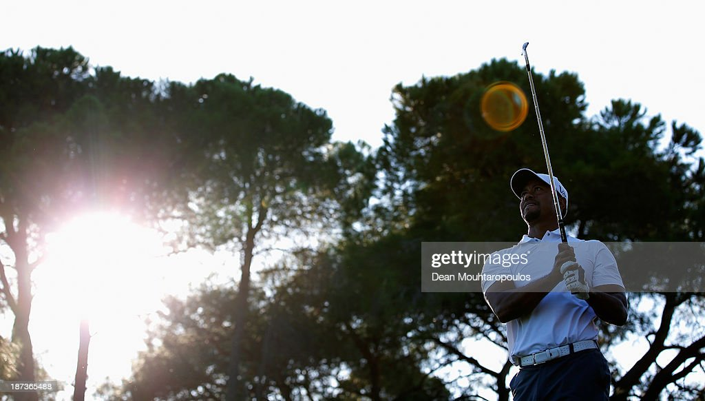 Tiger Woods of the United States hits his tee shot on the 16th hole during the second round of the Turkish Airlines Open at The Montgomerie Maxx Royal Course on November 8, 2013 in Antalya, Turkey.
