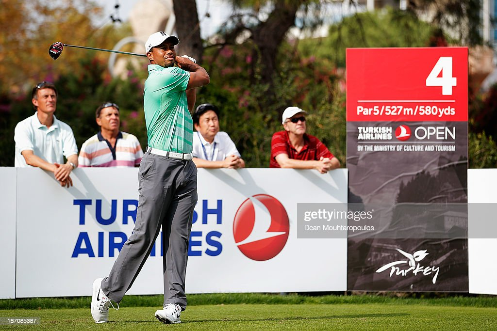 Tiger Woods of the United States hits his tee shot on the 4th hole during the pro-am as a preview for the Turkish Airlines Open at Montgomerie Maxx Royal Course on November 6, 2013 in Antalya, Turkey.