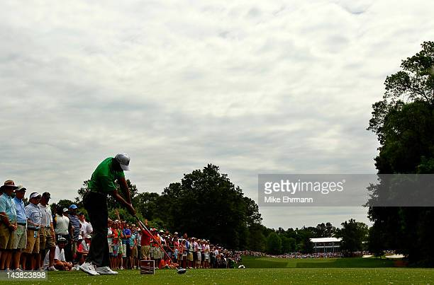 Tiger Woods of the United States hits his tee shot on the eighth hole during the second round of the Wells Fargo Championship at the Quail Hollow...
