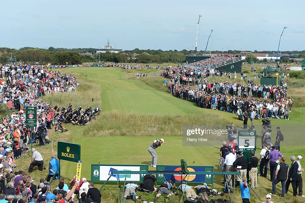<a gi-track='captionPersonalityLinkClicked' href=/galleries/search?phrase=Tiger+Woods&family=editorial&specificpeople=157537 ng-click='$event.stopPropagation()'>Tiger Woods</a> of the United States hits his tee shot on the fifth hole during the third round of the 141st Open Championship at Royal Lytham & St. Annes Golf Club on July 21, 2012 in Lytham St Annes, England.