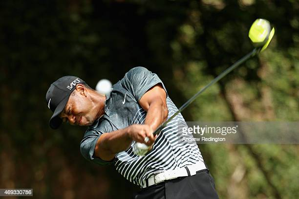 Tiger Woods of the United States hits his tee shot on the second hole during the third round of the 2015 Masters Tournament at Augusta National Golf...