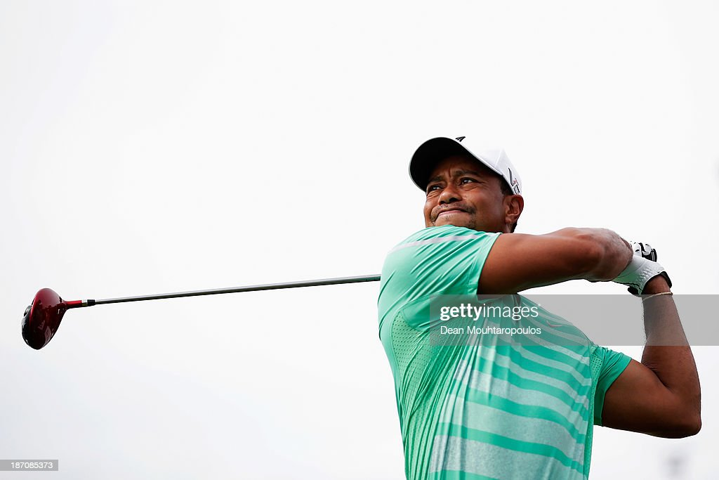 <a gi-track='captionPersonalityLinkClicked' href=/galleries/search?phrase=Tiger+Woods&family=editorial&specificpeople=157537 ng-click='$event.stopPropagation()'>Tiger Woods</a> of the United States in action during the pro-am as a preview for the Turkish Airlines Open at Montgomerie Maxx Royal Course on November 6, 2013 in Antalya, Turkey.