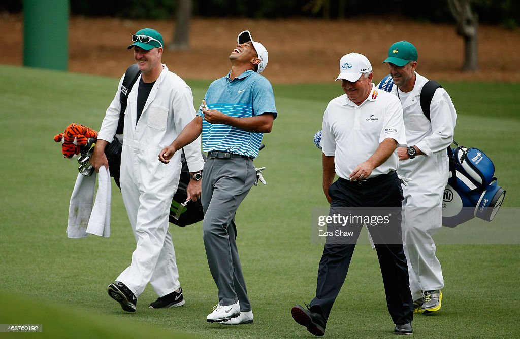 <a gi-track='captionPersonalityLinkClicked' href=/galleries/search?phrase=Tiger+Woods&family=editorial&specificpeople=157537 ng-click='$event.stopPropagation()'>Tiger Woods</a> of the United States laughs with <a gi-track='captionPersonalityLinkClicked' href=/galleries/search?phrase=Mark+O%27Meara&family=editorial&specificpeople=202245 ng-click='$event.stopPropagation()'>Mark O'Meara</a> of the United States during a practice round prior to the start of the 2015 Masters Tournament at Augusta National Golf Club on April 6, 2015 in Augusta, Georgia.