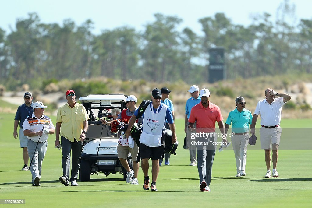 Tiger Woods of the United States leads his group down the 15th hole during the pro-am ahead of the Hero World Challenge at Albany, The Bahamas on November 30, 2016 in Nassau, Bahamas.