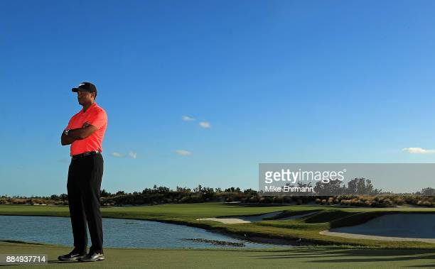 Tiger Woods of the United States looks on during the trophy ceremony of the Hero World Challenge at Albany Bahamas on December 3 2017 in Nassau...