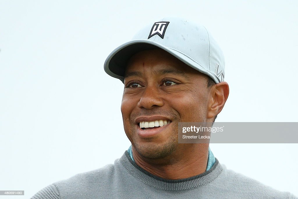 <a gi-track='captionPersonalityLinkClicked' href=/galleries/search?phrase=Tiger+Woods&family=editorial&specificpeople=157537 ng-click='$event.stopPropagation()'>Tiger Woods</a> of the United States plays a practice round ahead of the 144th Open Championship at The Old Course on July 13, 2015 in St Andrews, Scotland.