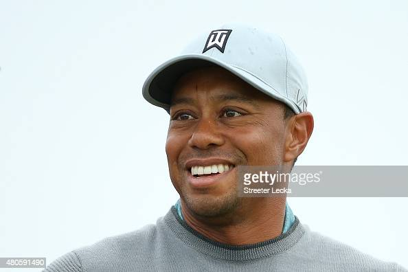 Tiger Woods of the United States plays a practice round ahead of the 144th Open Championship at The Old Course on July 13 2015 in St Andrews Scotland