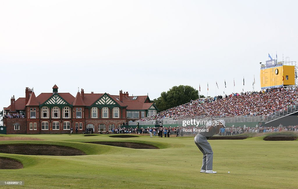 Tiger Woods of the United States plays an approach shot on the eighteenth hole during the third round of the 141st Open Championship at Royal Lytham & St. Annes Golf Club on July 21, 2012 in Lytham St Annes, England.