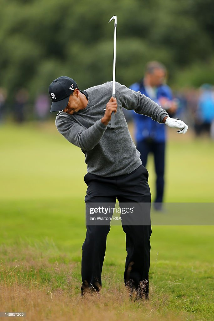 <a gi-track='captionPersonalityLinkClicked' href=/galleries/search?phrase=Tiger+Woods&family=editorial&specificpeople=157537 ng-click='$event.stopPropagation()'>Tiger Woods</a> of the United States reacts on the 7th hole during the second round of the 141st Open Championship at Royal Lytham & St Annes Golf Club on July 20, 2012 in Lytham St Annes, England.