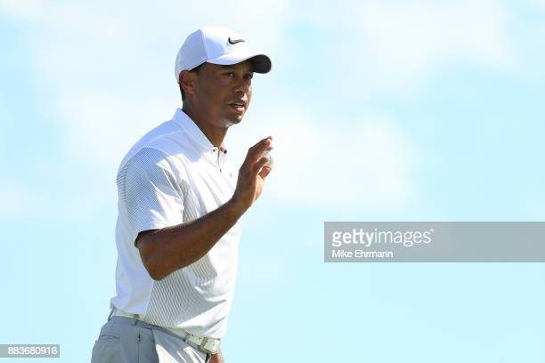 Tiger Woods of the United States reacts on the second green during the second round of the Hero World Challenge at Albany Bahamas on December 1 2017...