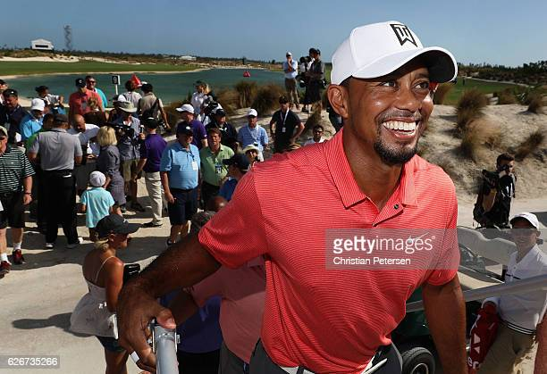 Tiger Woods of the United States smiles after the completion of the proam for the Hero World Challenge at Albany The Bahamas on November 30 2016 in...