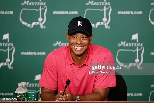 Tiger Woods of the United States speaks to the media during a practice round prior to the start of the 2015 Masters Tournament at Augusta National...