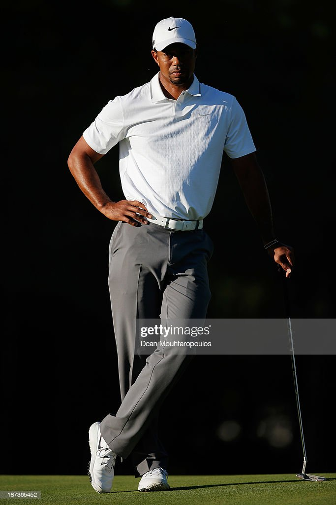 <a gi-track='captionPersonalityLinkClicked' href=/galleries/search?phrase=Tiger+Woods&family=editorial&specificpeople=157537 ng-click='$event.stopPropagation()'>Tiger Woods</a> of the United States stands on the 16th green during the second round of the Turkish Airlines Open at The Montgomerie Maxx Royal Course on November 8, 2013 in Antalya, Turkey.
