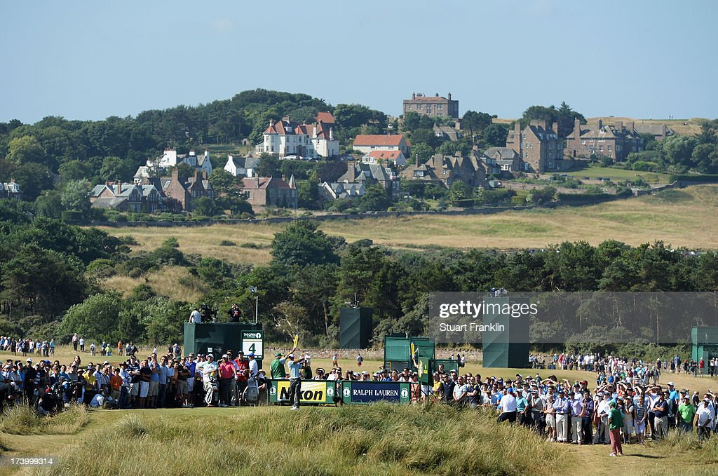Tiger Woods of the United States tees off on the 4th hole during the second round of the 142nd Open Championship at Muirfield on July 19, 2013 in Gullane, Scotland.