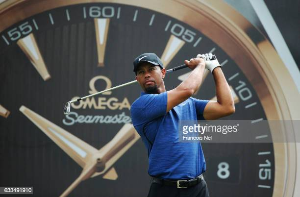 Tiger Woods of the United States tees off on the 7th hole during the first round of the Omega Dubai Desert Classic at Emirates Golf Club on February...