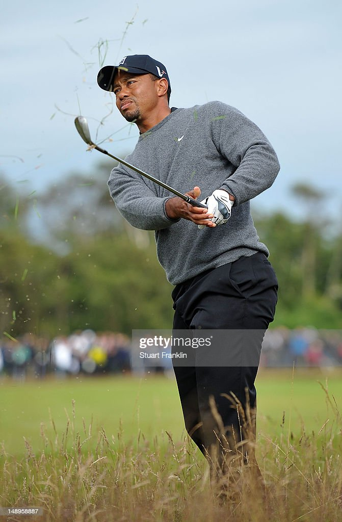 <a gi-track='captionPersonalityLinkClicked' href=/galleries/search?phrase=Tiger+Woods&family=editorial&specificpeople=157537 ng-click='$event.stopPropagation()'>Tiger Woods</a> of the United States watches a shot from the rough on the 11th hole during the second round of the 141st Open Championship at Royal Lytham & St Annes Golf Club on July 20, 2012 in Lytham St Annes, England.