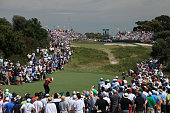Tiger Woods of the US Team plays his tee shot on the 5th hole during the Day Two FourBall Matches of the 2011 Presidents Cup at Royal Melbourne Golf...
