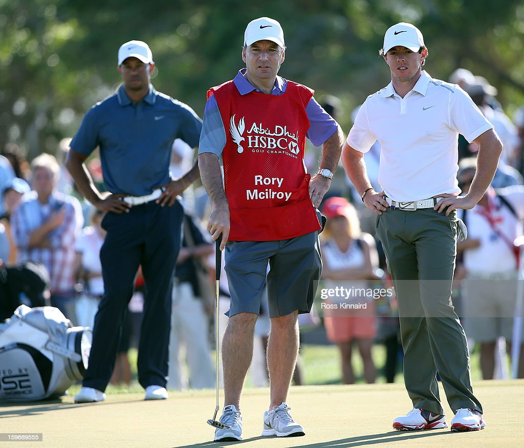 <a gi-track='captionPersonalityLinkClicked' href=/galleries/search?phrase=Tiger+Woods&family=editorial&specificpeople=157537 ng-click='$event.stopPropagation()'>Tiger Woods</a> of the USA and Rory McIlroy of Northern Ireland on the 14th green during the second round of the Abu Dhabi HSBC Golf Championship at the Abu Dhabi Golf Club on January 18, 2013 in Abu Dhabi, United Arab Emirates.