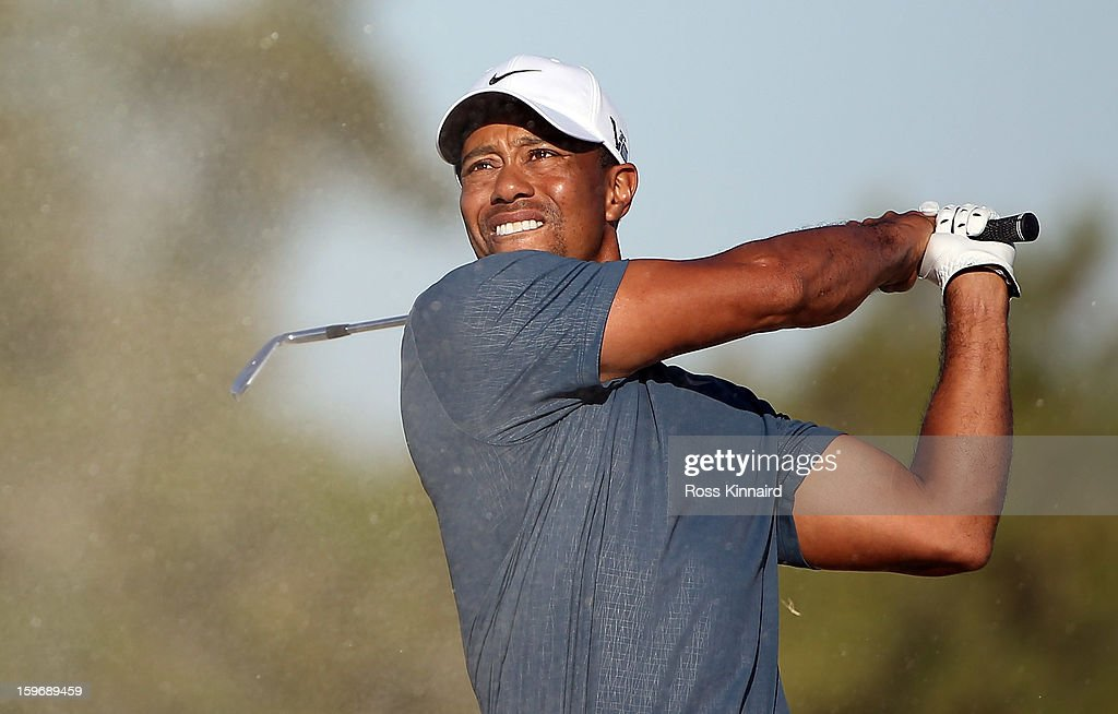 Tiger Woods of the USA during the second round of the Abu Dhabi HSBC Golf Championship at the Abu Dhabi Golf Club on January 18, 2013 in Abu Dhabi, United Arab Emirates.