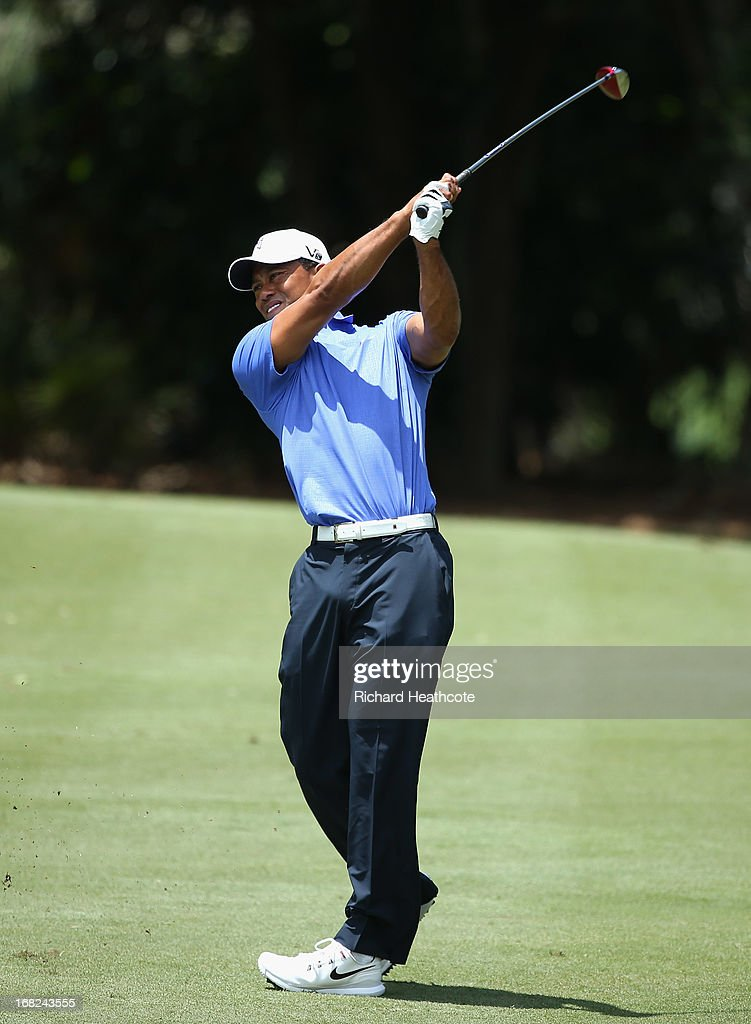 Tiger Woods of the USA hits a shot during a practise round for THE PLAYERS Championship at TPC Sawgrass on May 7, 2013 in Ponte Vedra Beach, Florida.