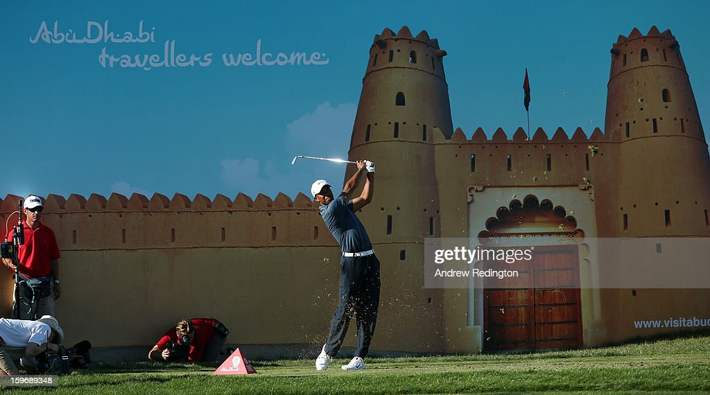 Tiger Woods of the USA hits his tee-shot on the 15th hole during the second round of The Abu Dhabi HSBC Golf Championship at Abu Dhabi Golf Club on January 18, 2013 in Abu Dhabi, United Arab Emirates.