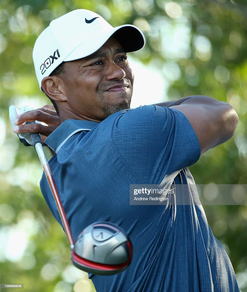 Tiger Woods of the USA hits his tee-shot on the 17th hole during the second round of The Abu Dhabi HSBC Golf Championship at Abu Dhabi Golf Club on January 18, 2013 in Abu Dhabi, United Arab Emirates.