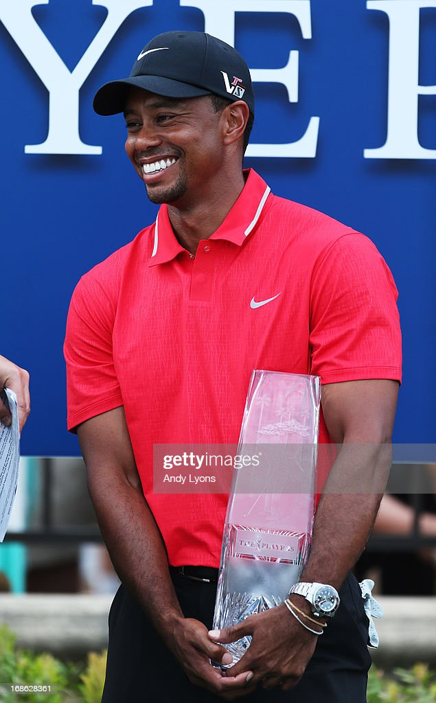 Tiger Woods of the USA holds the winner's trophy after the final round of THE PLAYERS Championship at THE PLAYERS Stadium course at TPC Sawgrass on May 12, 2013 in Ponte Vedra Beach, Florida.