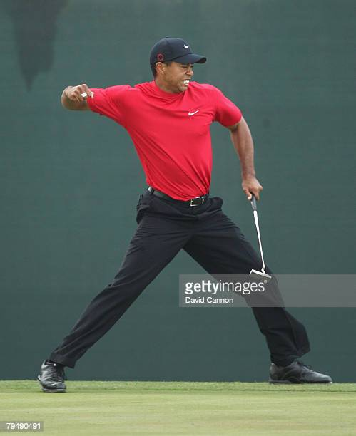 Tiger Woods of the USA holes a birdie putt at the 18th hole during the final round to win the Dubai Desert Classic on the Majilis Course at the...