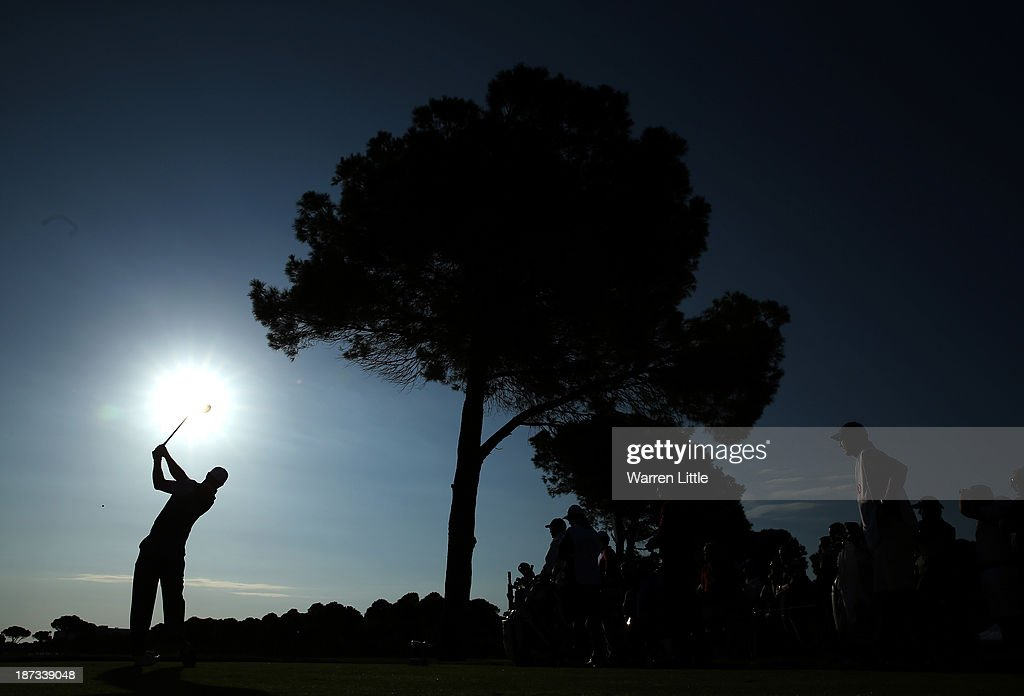 Tiger Woods of the USA in action during the completion of the first round of the Turkish Airlines Open at The Montgomerie Maxx Royal Course on November 8, 2013 in Antalya, Turkey.