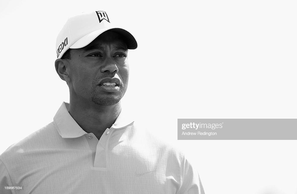 <a gi-track='captionPersonalityLinkClicked' href=/galleries/search?phrase=Tiger+Woods&family=editorial&specificpeople=157537 ng-click='$event.stopPropagation()'>Tiger Woods</a> of the USA in action during the Pro Am prior to the start of The Abu Dhabi HSBC Golf Championship at Abu Dhabi Golf Club on January 16, 2013 in Abu Dhabi, United Arab Emirates.